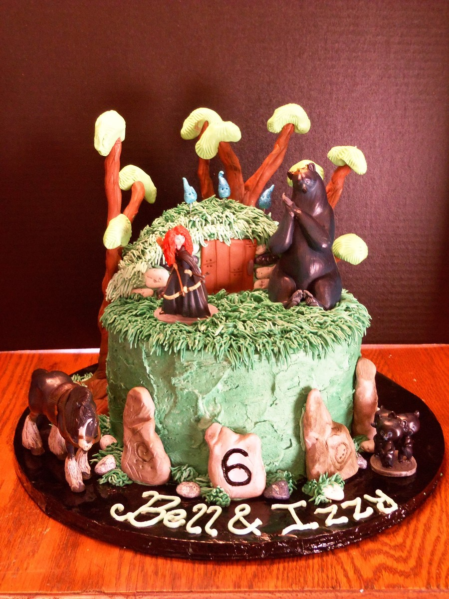 Brave Cake For 6 Year Old Twins Trees Are A Wire Structure With Fondant And Modeling Chocolate Molded On Top on Cake Central