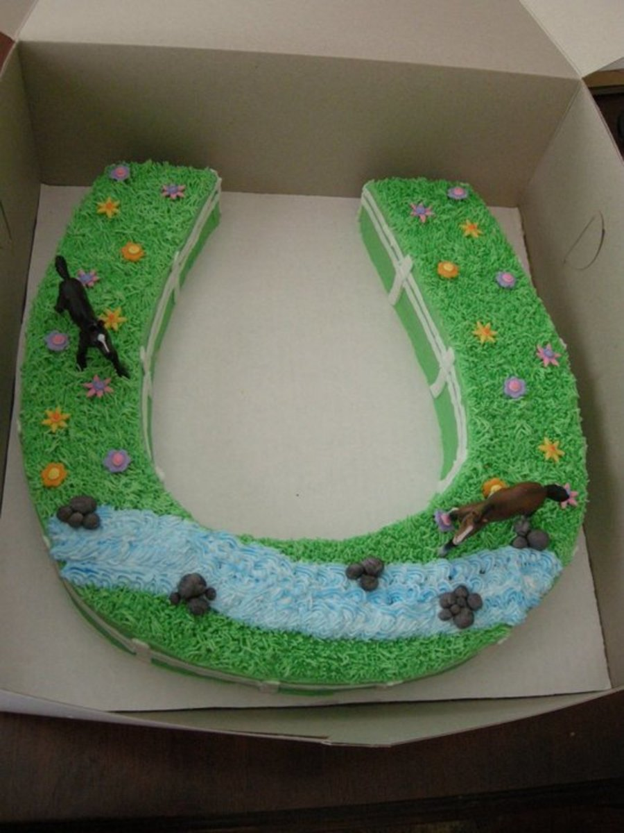 Horseshoe Cake With Horses Cakecentral Com