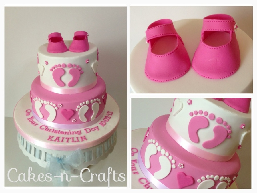 Pink And White Christening Cake With Mary Jane Shoes on Cake Central