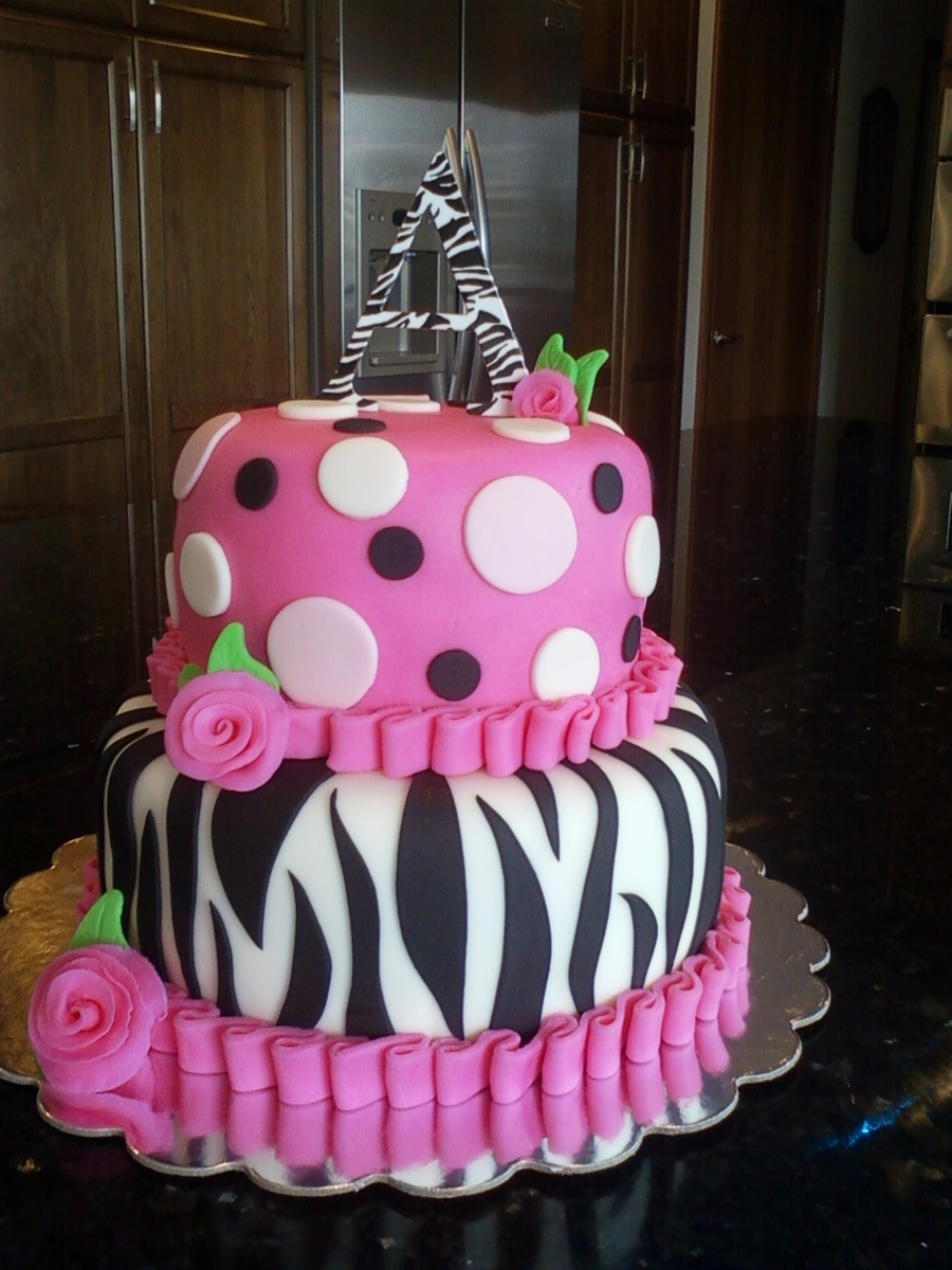 Zebra And Polka Dots  on Cake Central