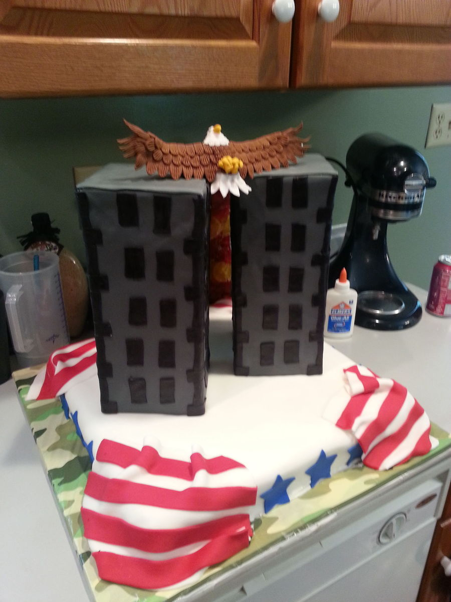 My Son Was Born On 91101 This Cake Was His Idea He Said He Wanted To Honor The Memory Of The People That Died That Day So Heres What H on Cake Central