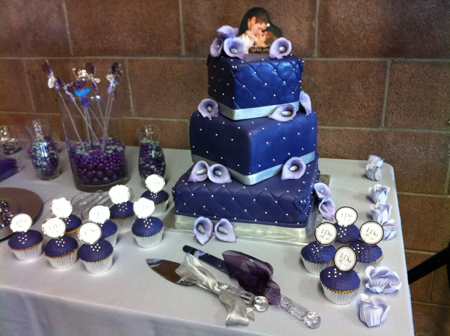 This Is A Purple Square Quilted Fondand Cake With Gumpast Hand Painted Calla Lilies