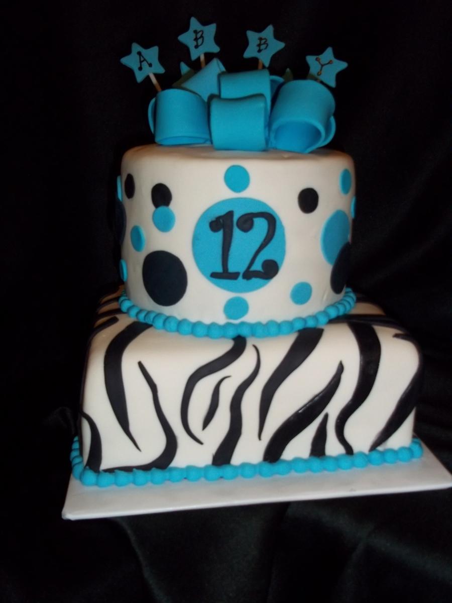 Zebra Print Birthday Cake - CakeCentral.com