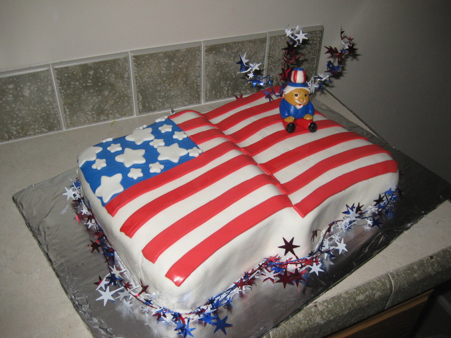 4Th Of July American Flag W/ Uncle Sam on Cake Central