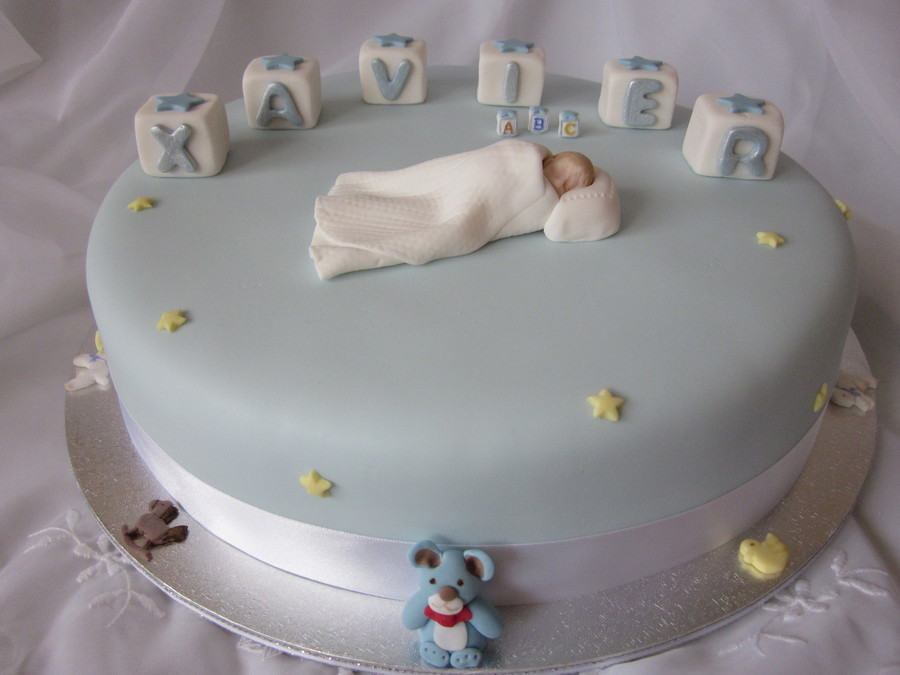 Blue Christening Cake on Cake Central