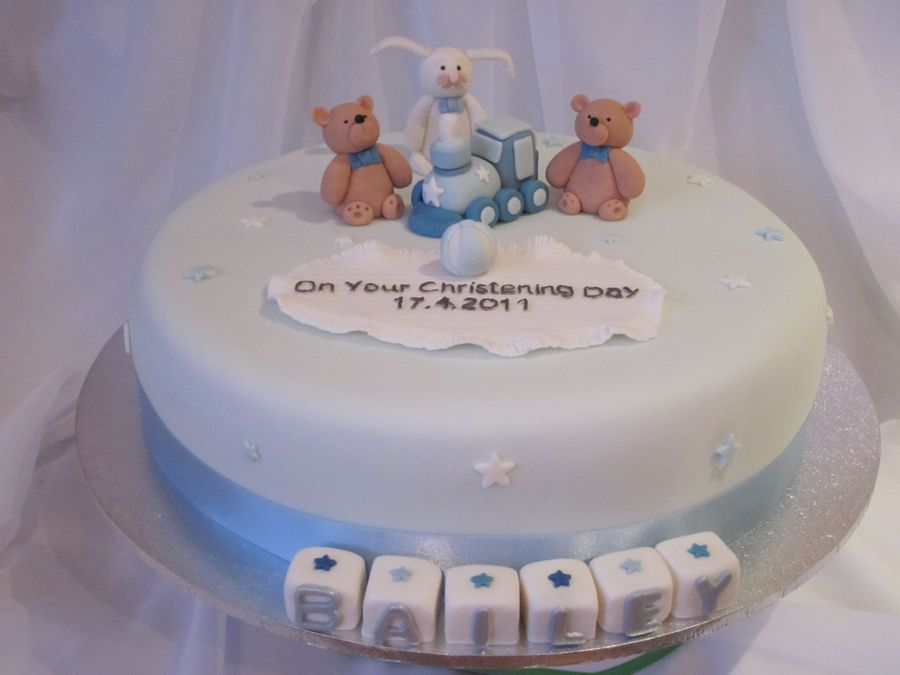Blue & White Christening Cake on Cake Central