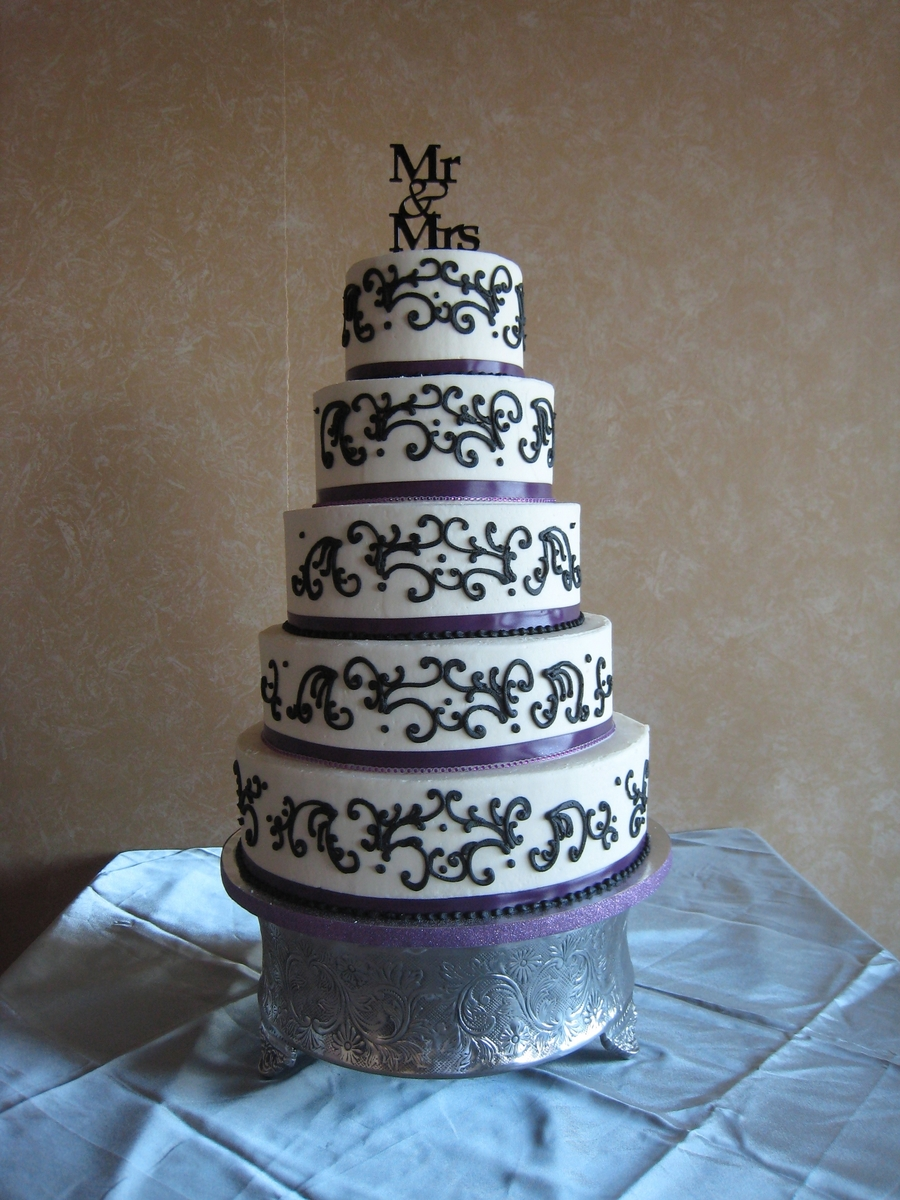 Black & Purple Wedding Cake on Cake Central