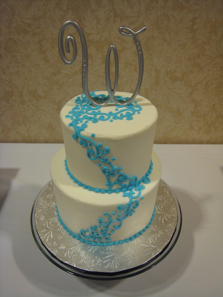 Elegant Teal Blue Wedding Cake on Cake Central