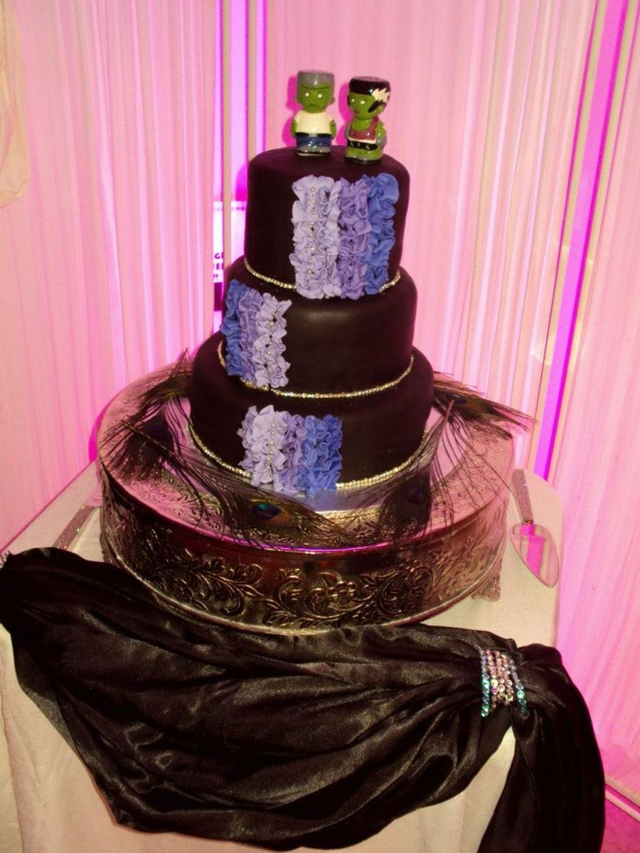 Black And Purple Wedding Cake on Cake Central