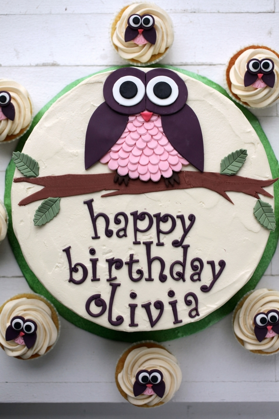 Owl Cake And Cupcakes For Olivia on Cake Central