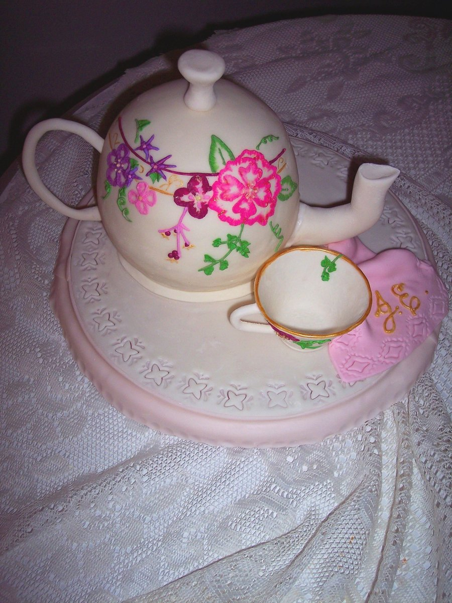 Floral Tea Pot With Tea Cup on Cake Central
