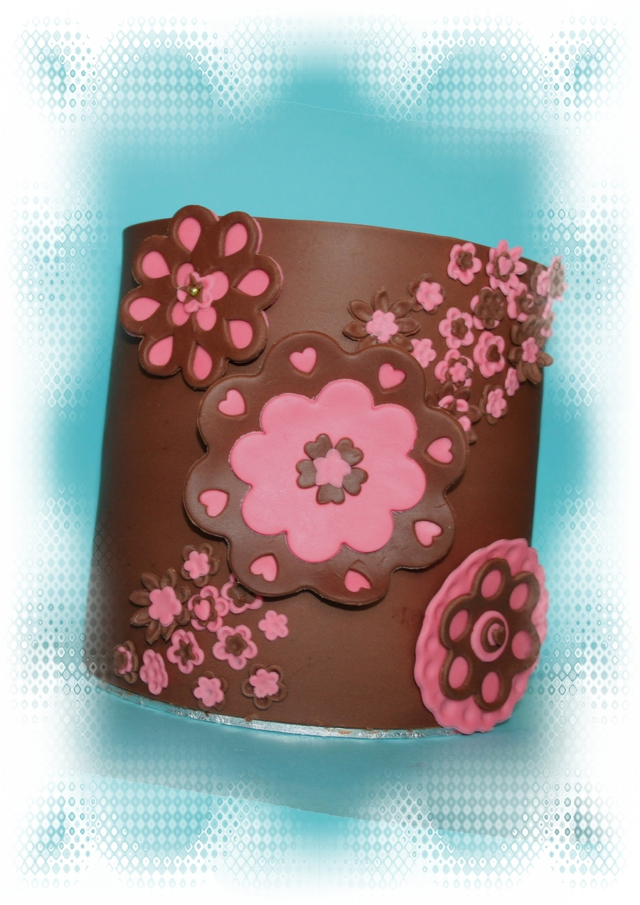 Brown And Pink Birthday Cake on Cake Central