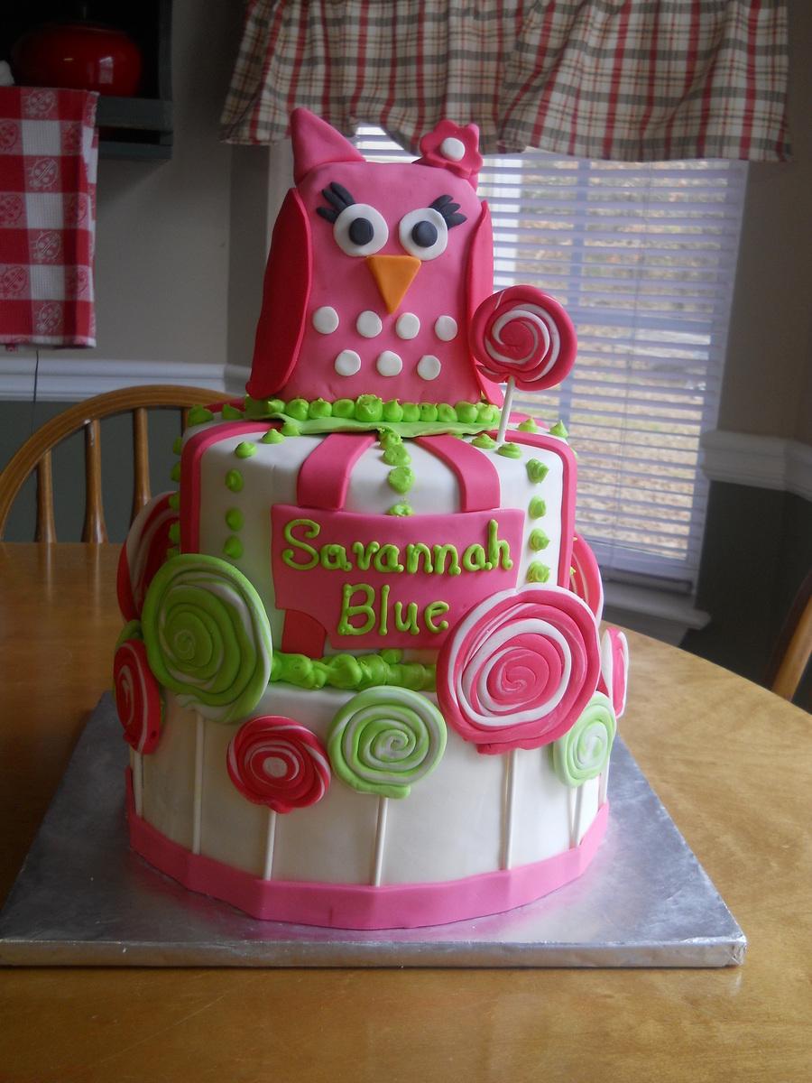 Lollipop Owl Birthday Cake Cakecentral