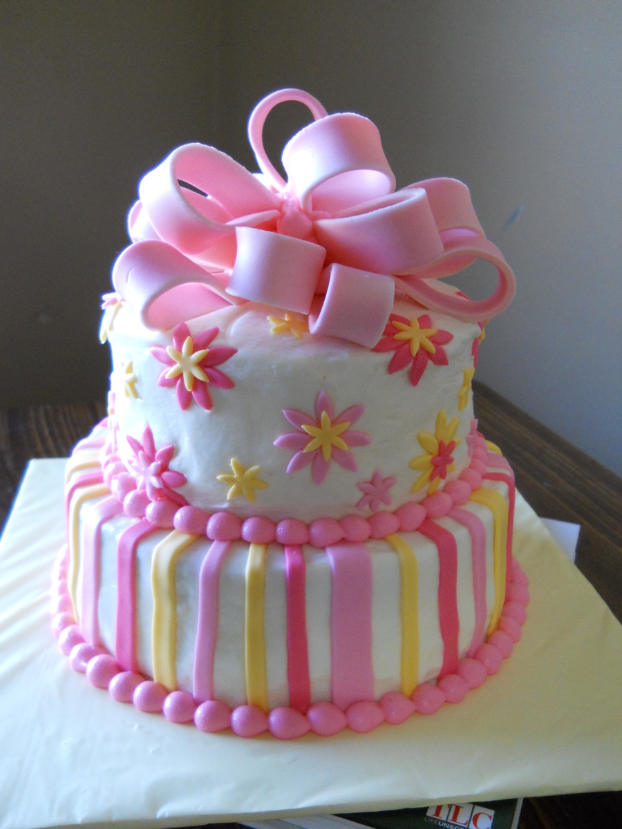 Pink And Yellow Stripes And Flowers With Bow on Cake Central