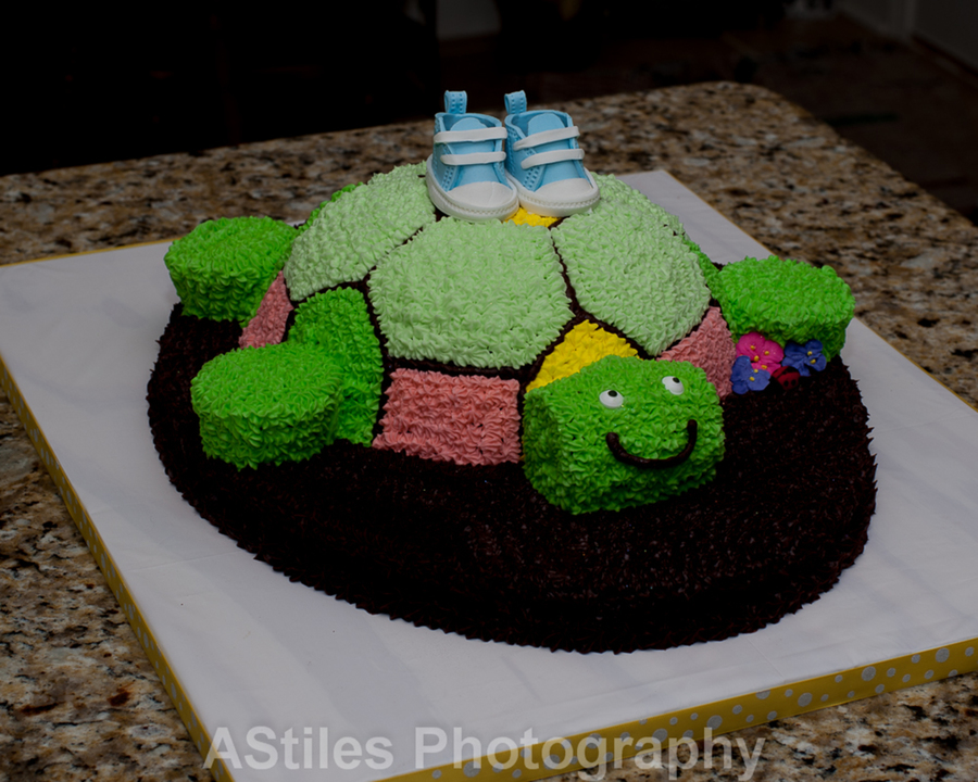 Shoes Made From Gum Paste Cake Was For A Baby Shower That Was Turtle Themed Armslegs And Turtle Head Were Cupcakes The Body Of The Tur on Cake Central