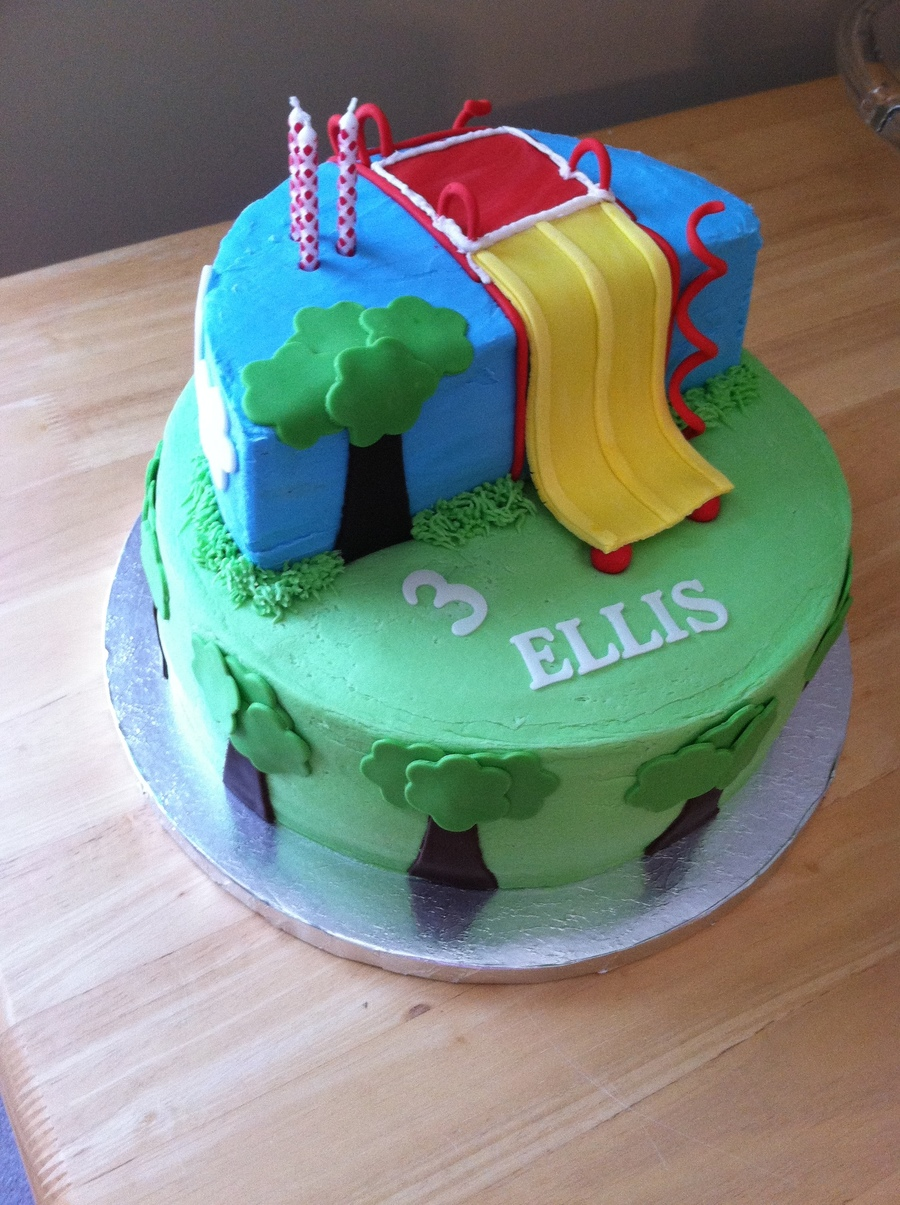 Playground Cake For A Birthday In The Park Buttercream With Fondant