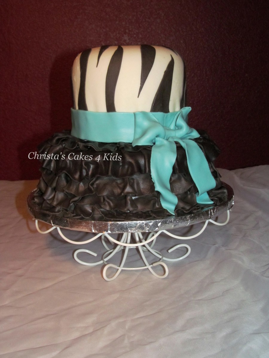 Zebra Ruffle Dress Cake on Cake Central