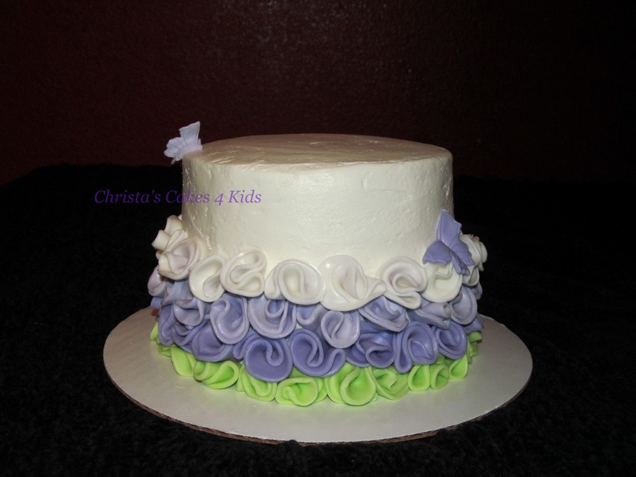 Ombre Ruffle Roses  on Cake Central