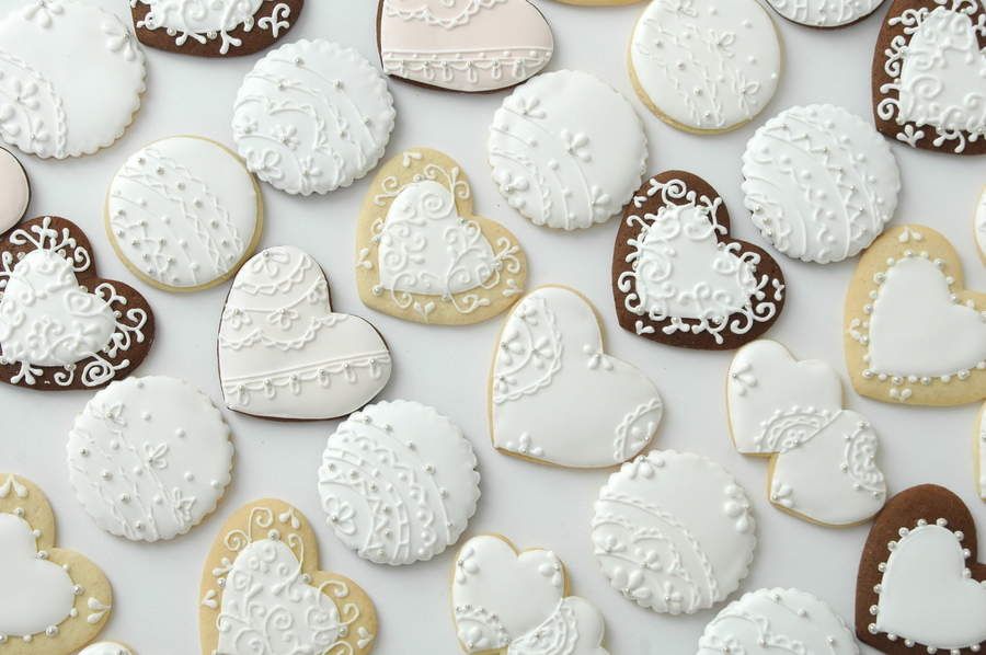 Wedding Cookies Lace Collection on Cake Central