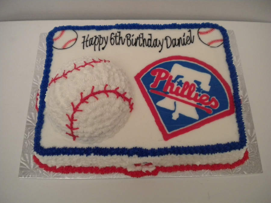 Phillies W/ 3D Baseball on Cake Central
