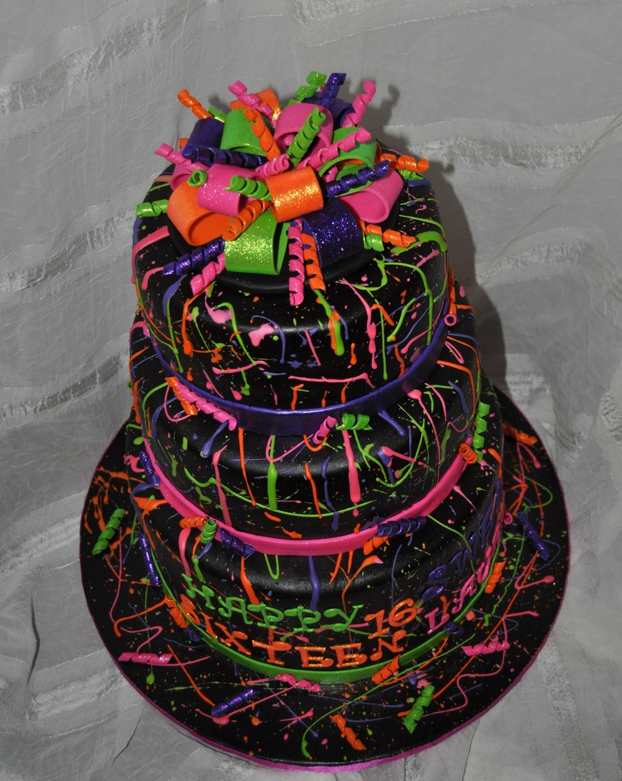 Pictures Of Neon Birthday Cakes