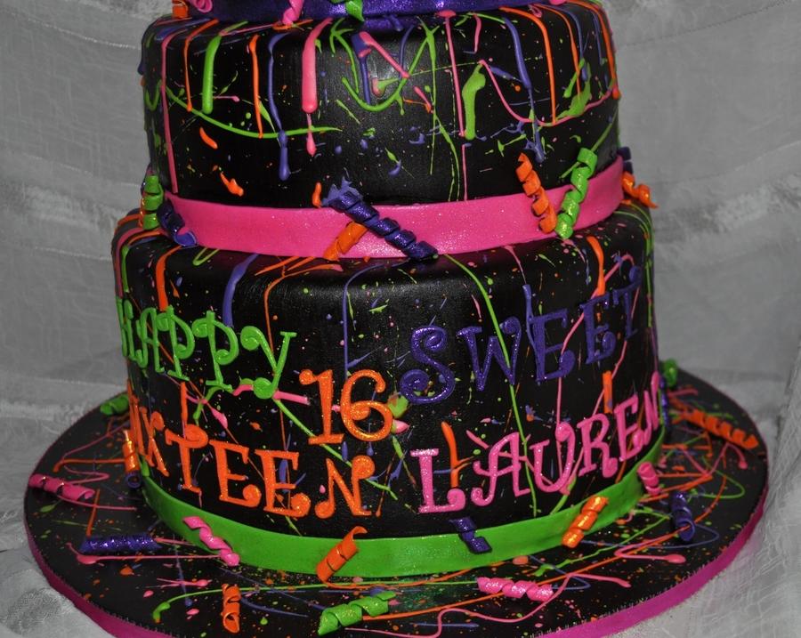 Neon Paint Splatter Cake Cakecentral Com