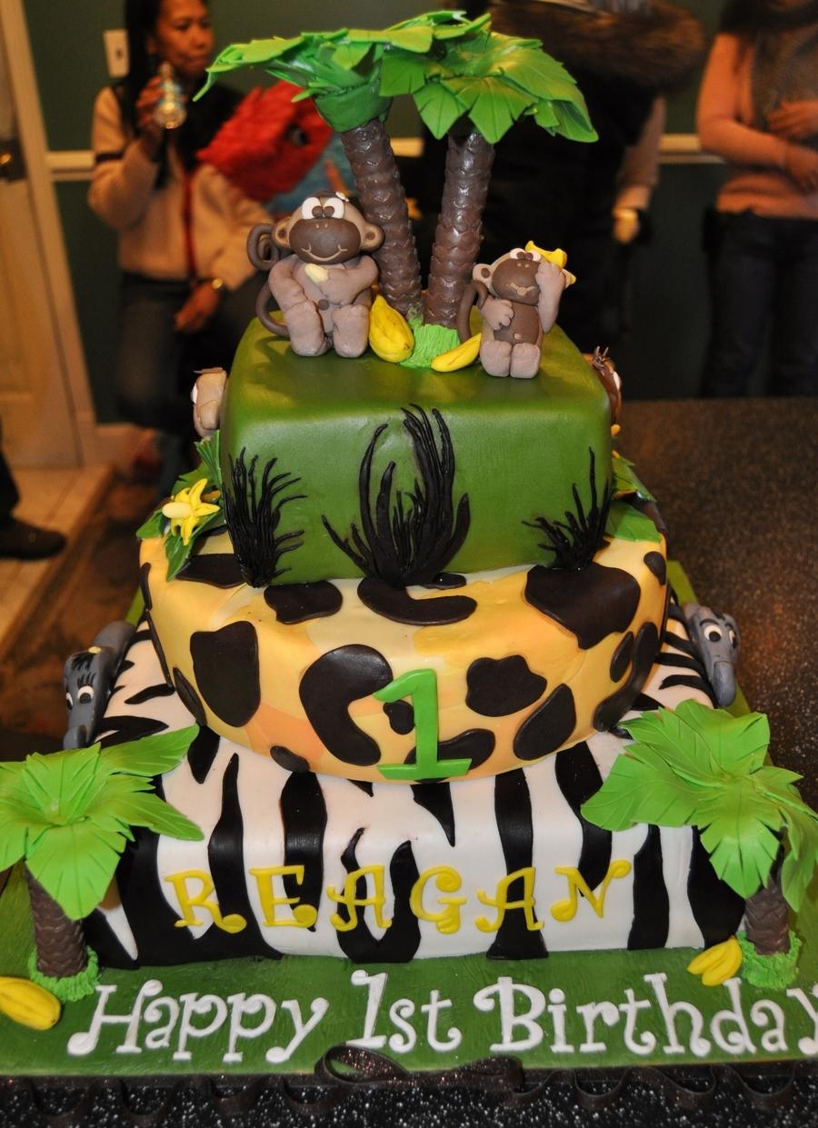 Jungle Monkey Themed 3 Tiered 1st Birthday Cake