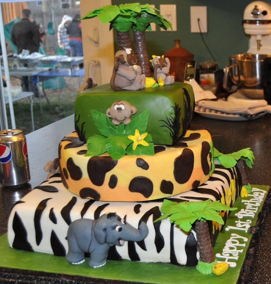 Jungle Monkey Themed 3 Tier 1st Birthday Cake TFL