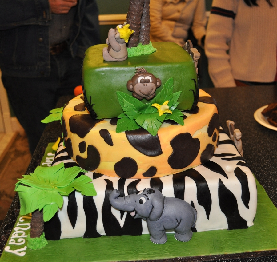 Jungle Monkey Themed 3 Tiered 1st Birthday Cake