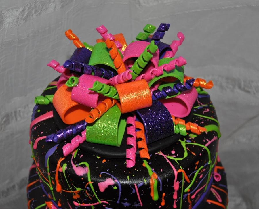 Neon Paint Splatter Cake CakeCentralcom