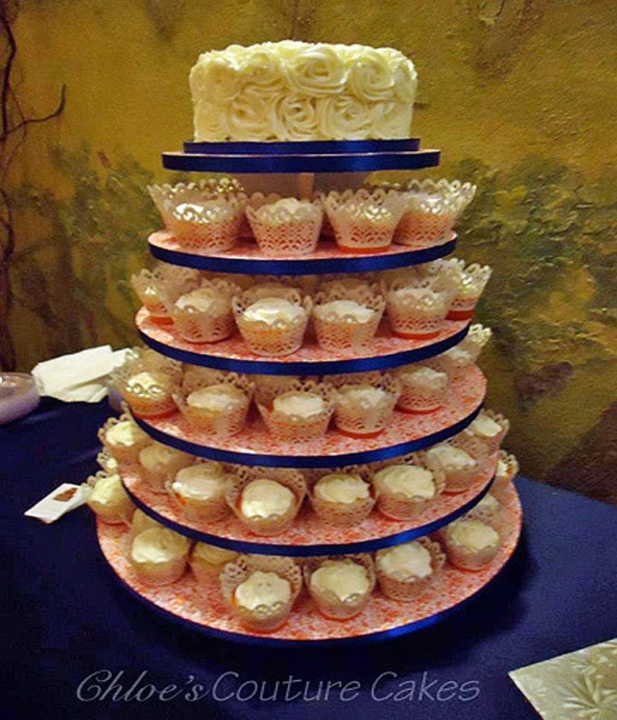 Rose Cake And Cupcake Tower on Cake Central