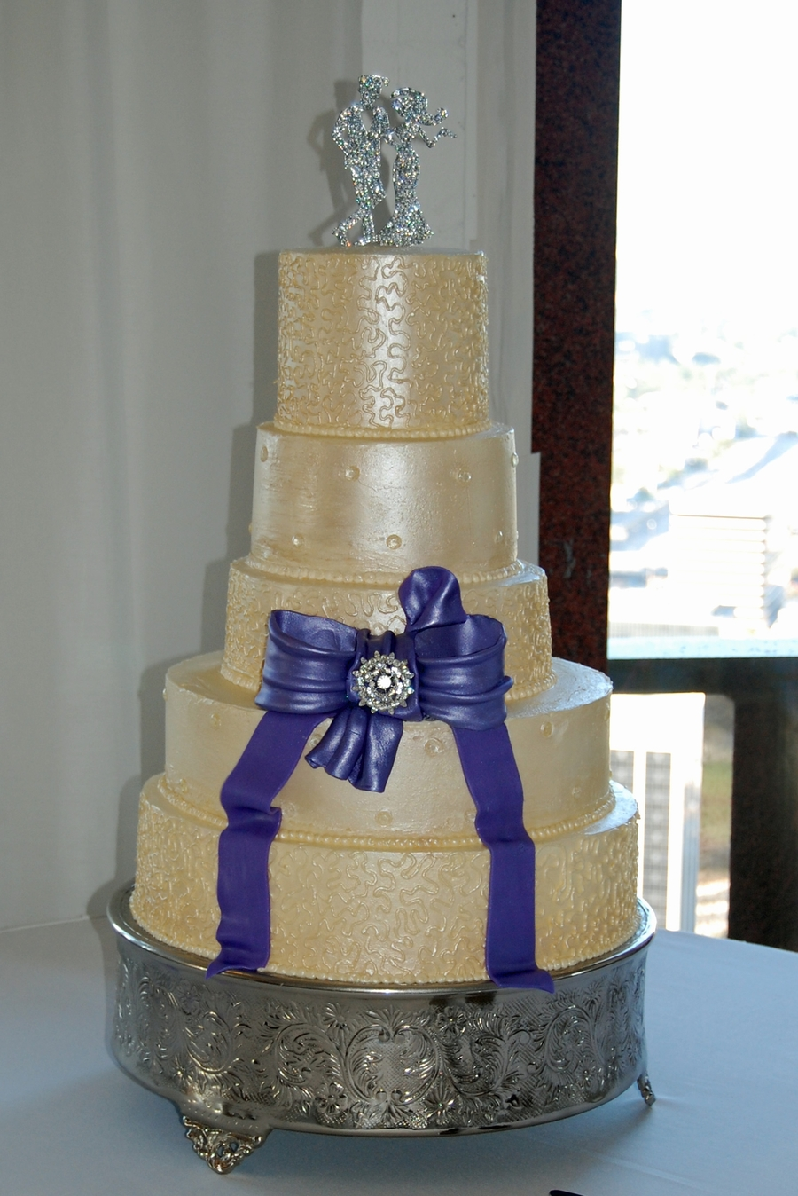 Pearlized 5 Tier Wedding Cake on Cake Central