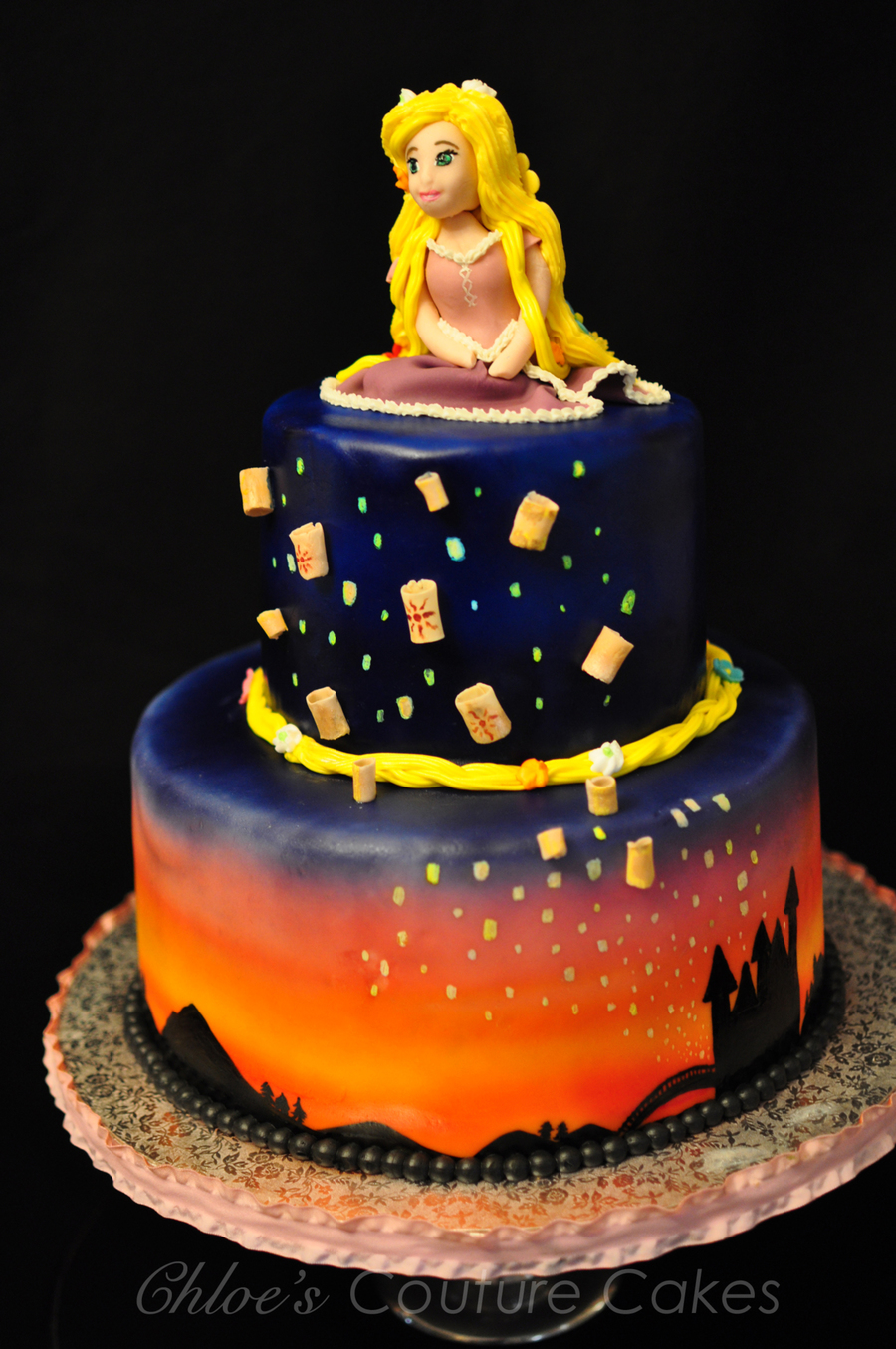 Rapunzel Birthday Cake With Floating Lanterns Sunset