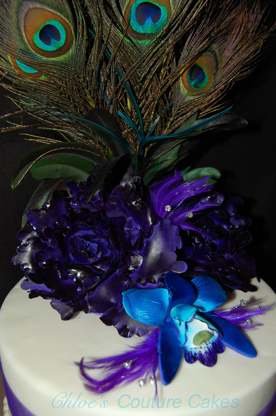 Peacock Feather Wedding Cake  on Cake Central