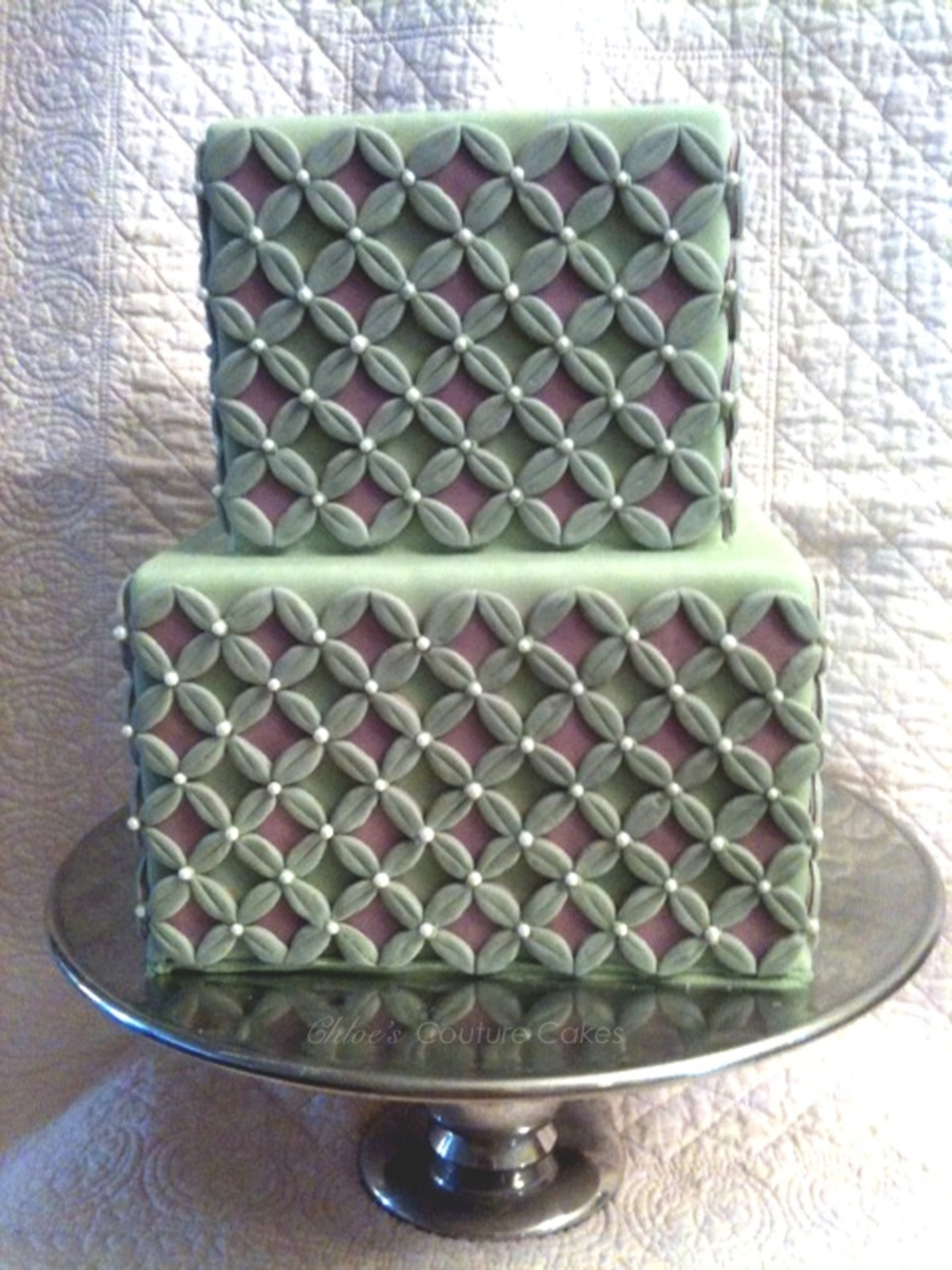 Simple Square With Pattern  on Cake Central