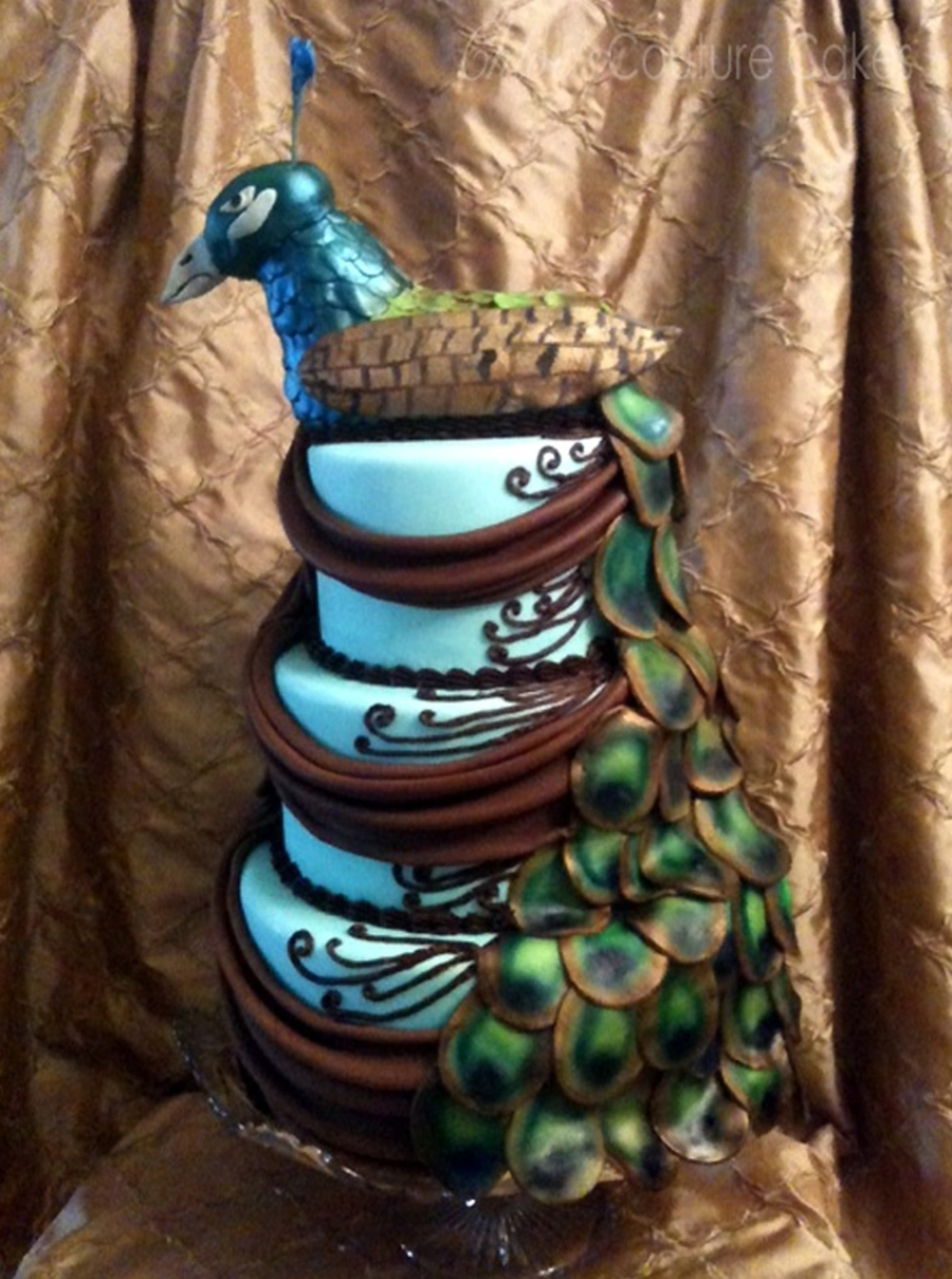 Peacock Wedding Cake on Cake Central