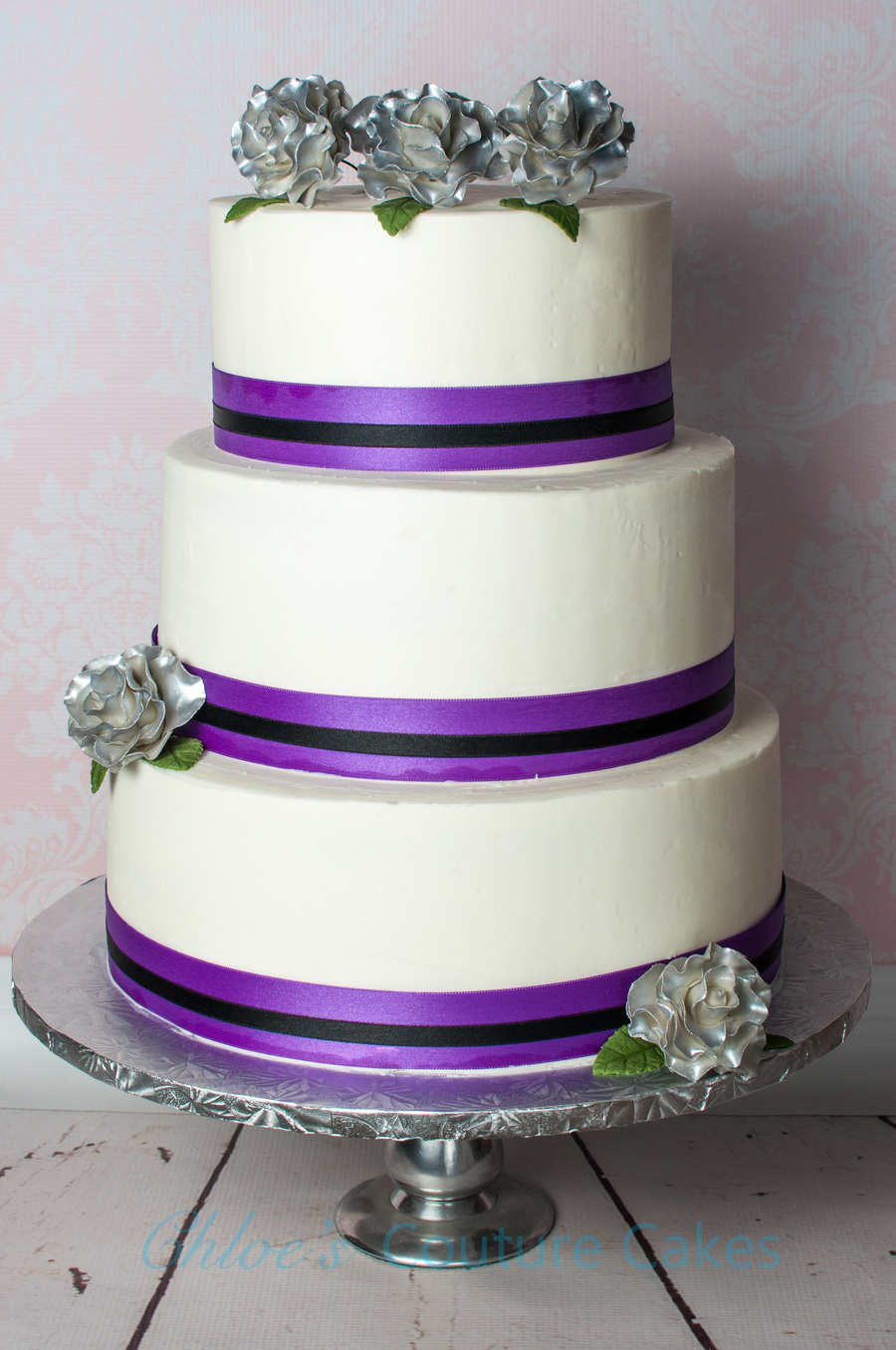 purple silver and white wedding cakes purple black and silver wedding cake cakecentral 18905