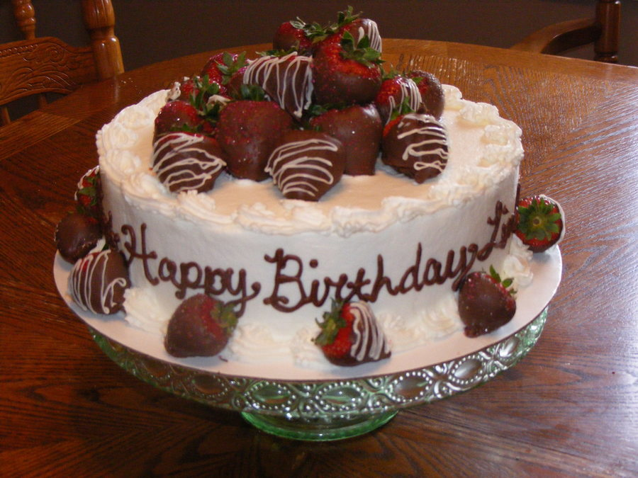 Miraculous Choc Dipped Strawberry Birthday Cake Cakecentral Com Funny Birthday Cards Online Overcheapnameinfo