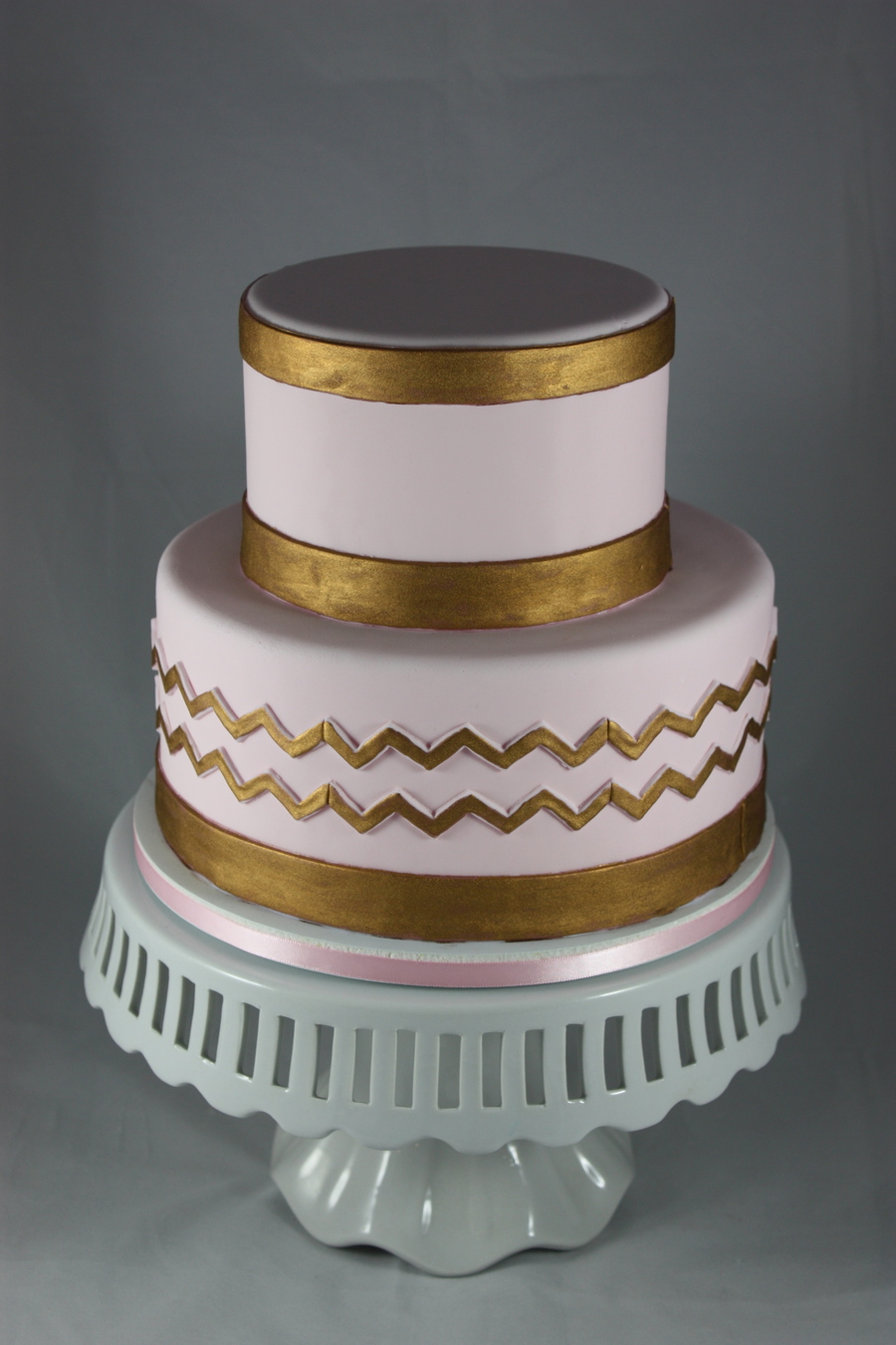 Pink And Gold Chevron on Cake Central