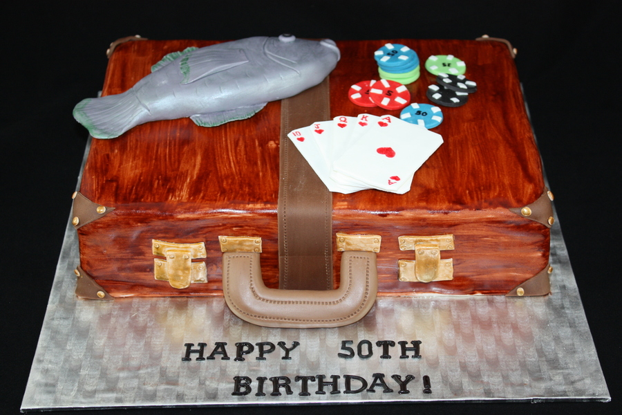 Birthday Cake Client Requested Only A Briefecase Poker Chips And Something To Do With Fishing 100 Edible on Cake Central