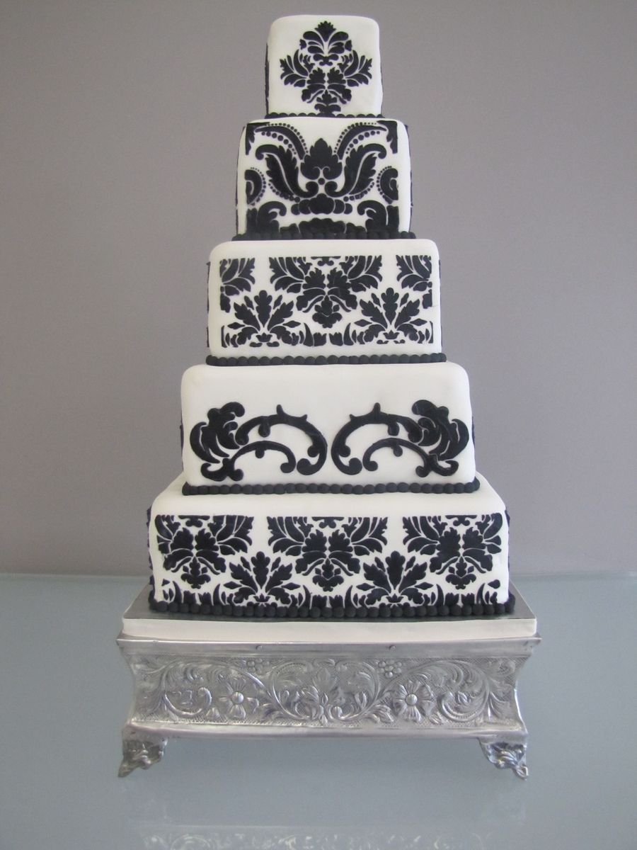 Black & White Damask Wedding Cake on Cake Central