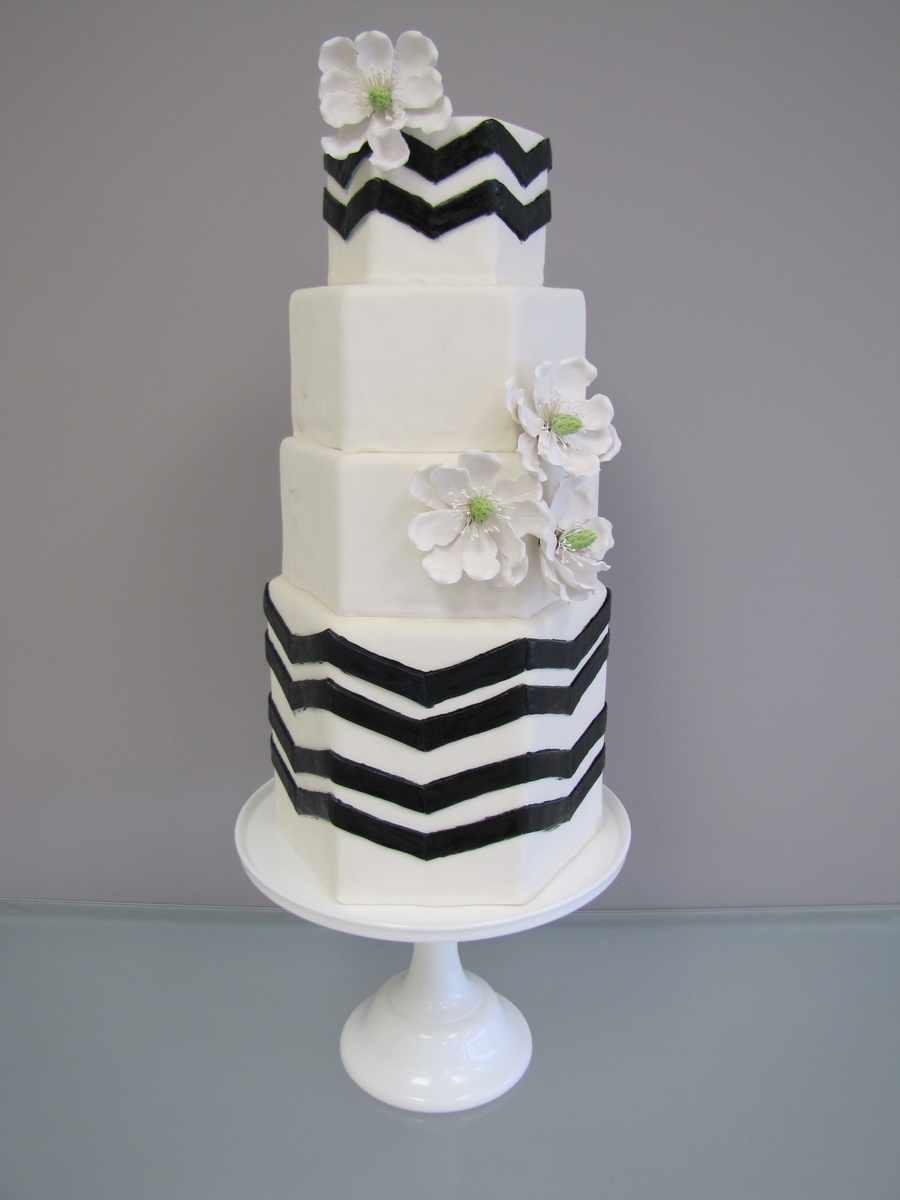 Hexagon Chevron Wedding Cake on Cake Central