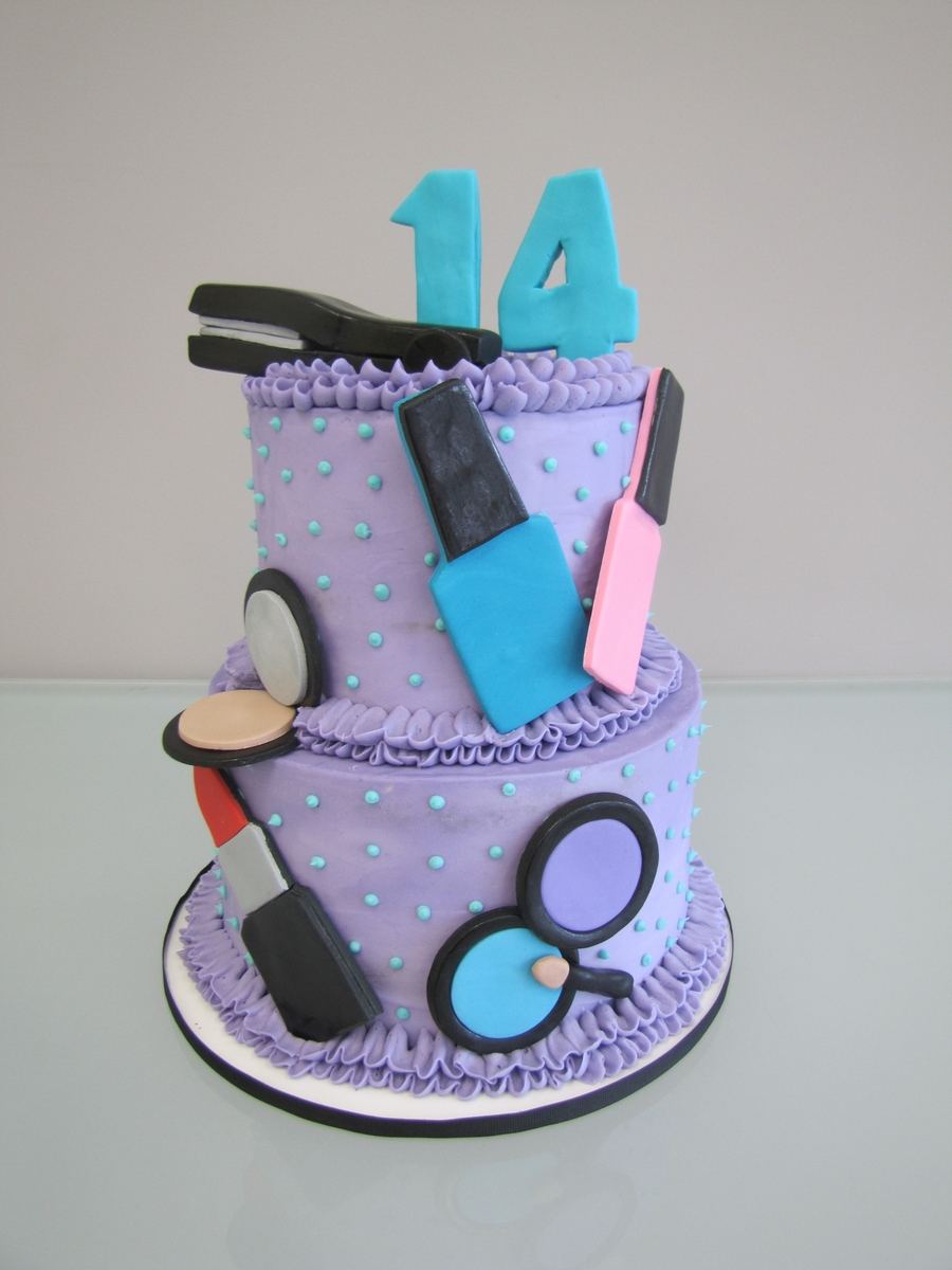 Girly Makeup Birthday Cake on Cake Central