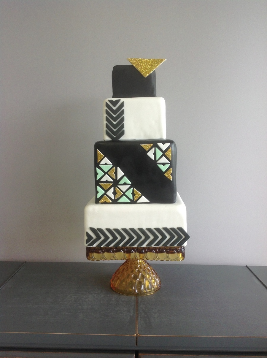 Geometric Black, White, And Gold Wedding Cake on Cake Central