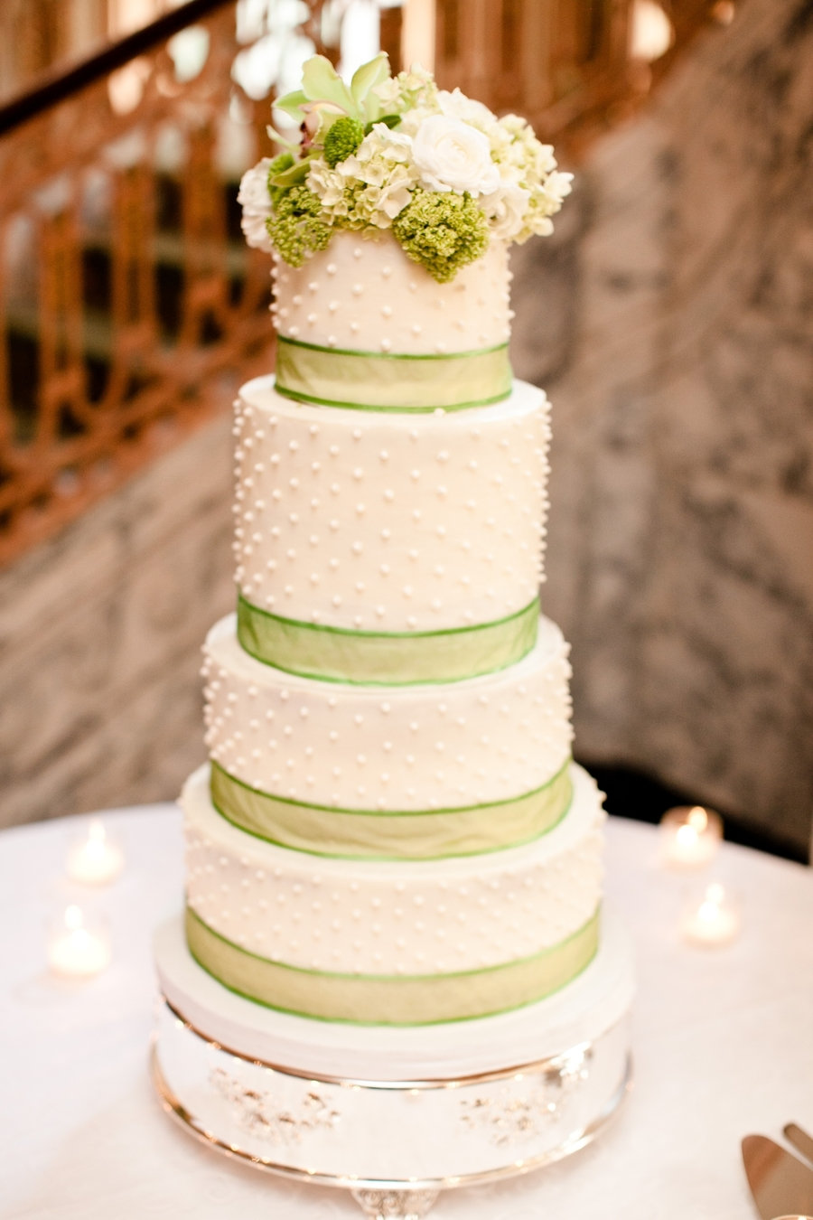 White Pearl Wedding Cake  on Cake Central