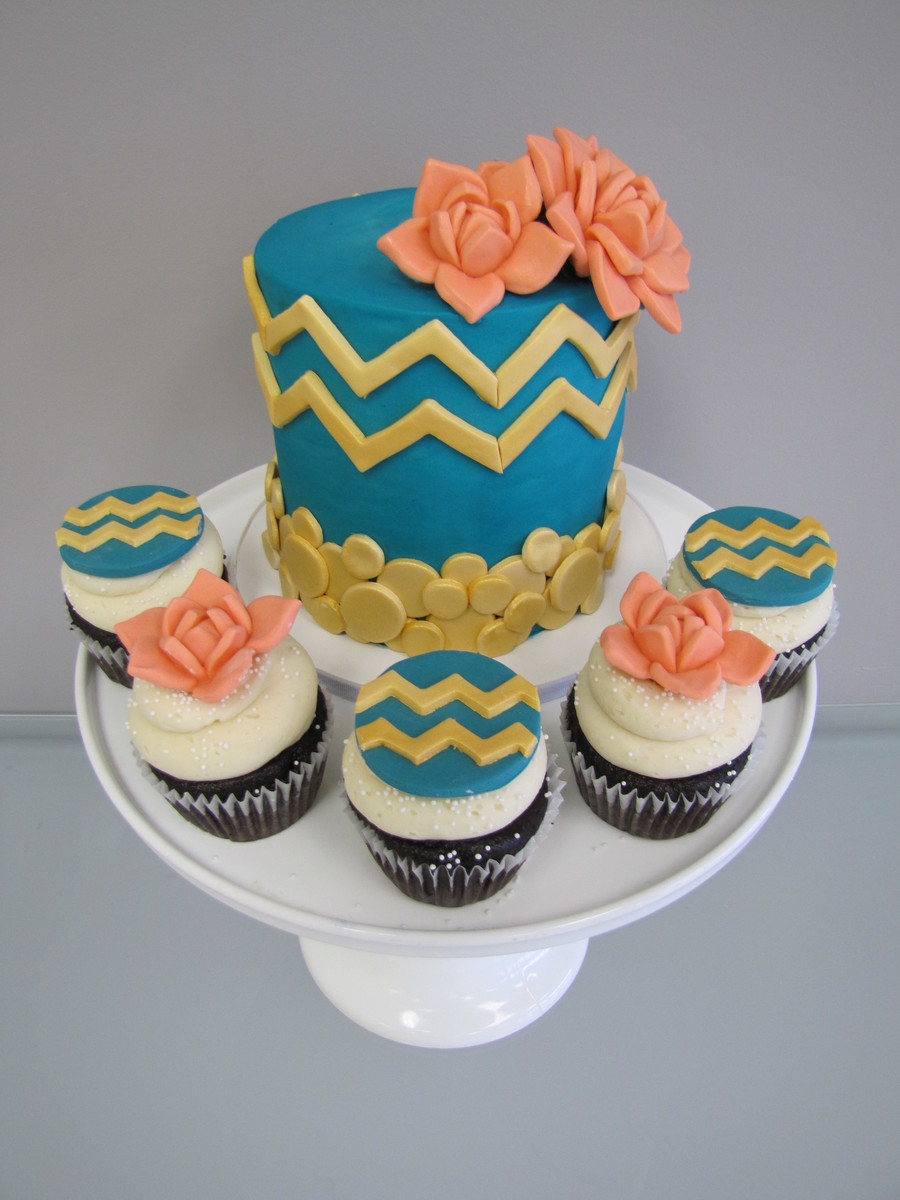 Chevron & Succulents on Cake Central