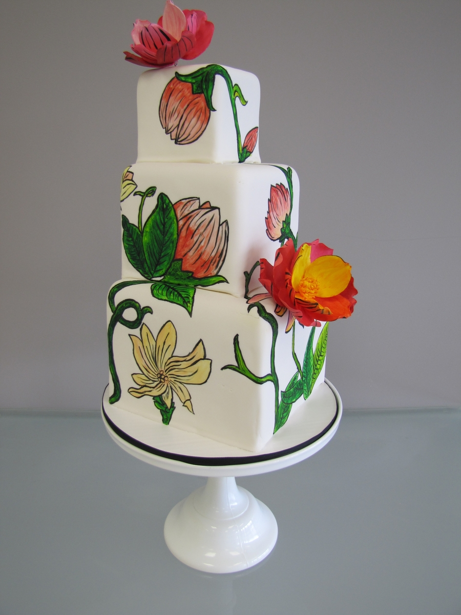 Painted Flower Wedding Cake on Cake Central