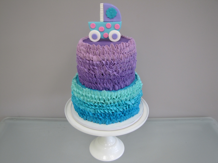 Ombre Buttercream Ruffle Gender Reveal Cake on Cake Central