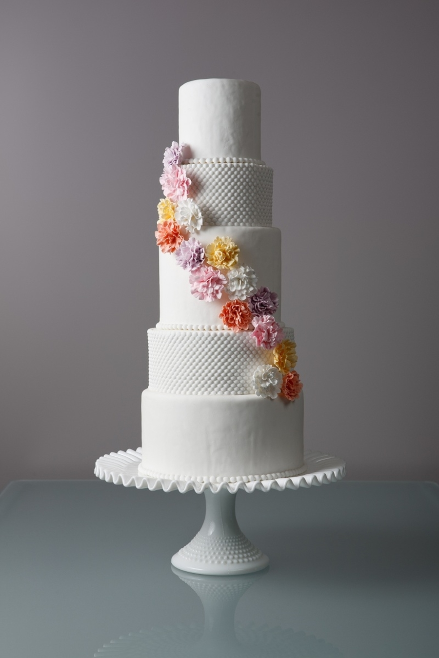 Hobnail Carnation Sugar Flower Wedding Cake on Cake Central