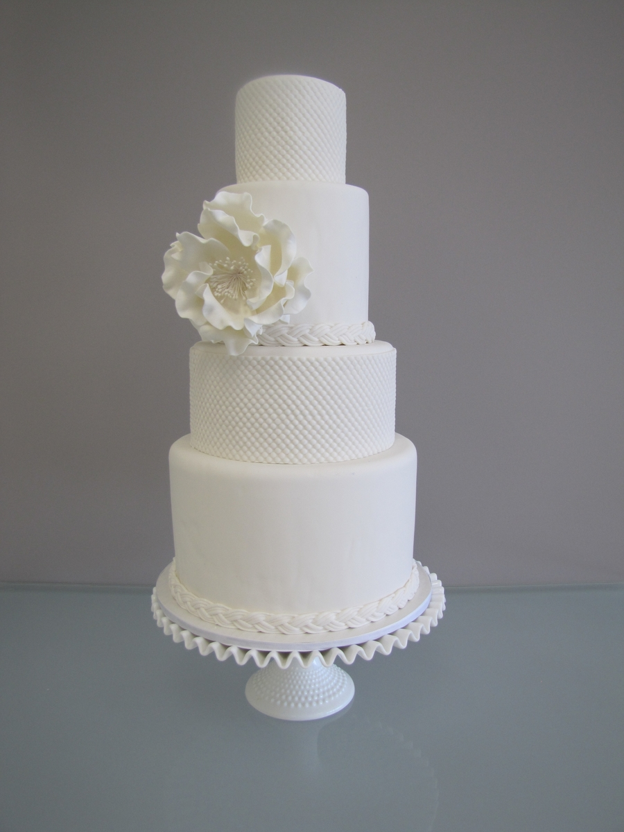 Hobnail Wedding Cake With Peony on Cake Central